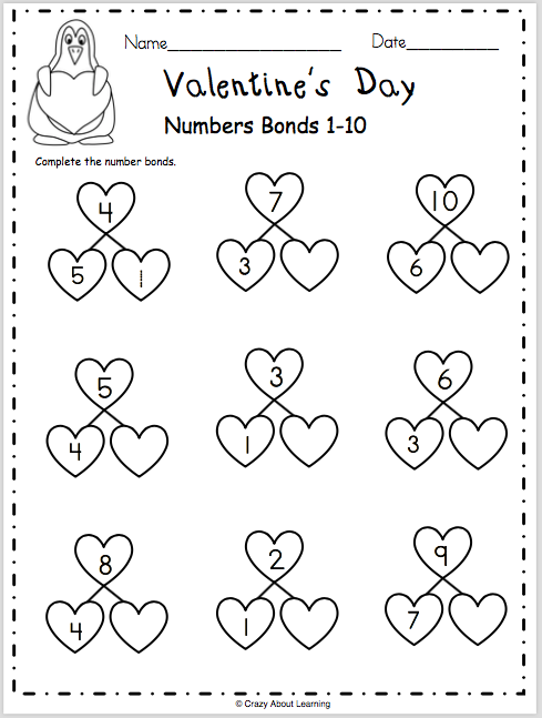Valentine S Day Numbers Bonds 1 10 Made By Teachers Math Valentines Kindergarten Math Numbers Kindergarten Math Free