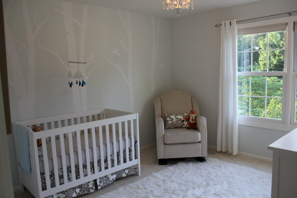 We love a neutral, serene nursery. I love how soft the birch tree decal accent wall is!