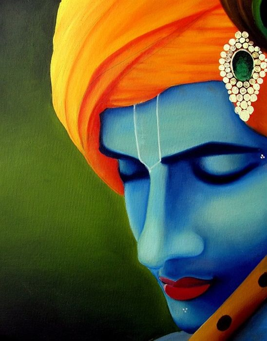 Lord Krishna oil painting … | Pinteres…