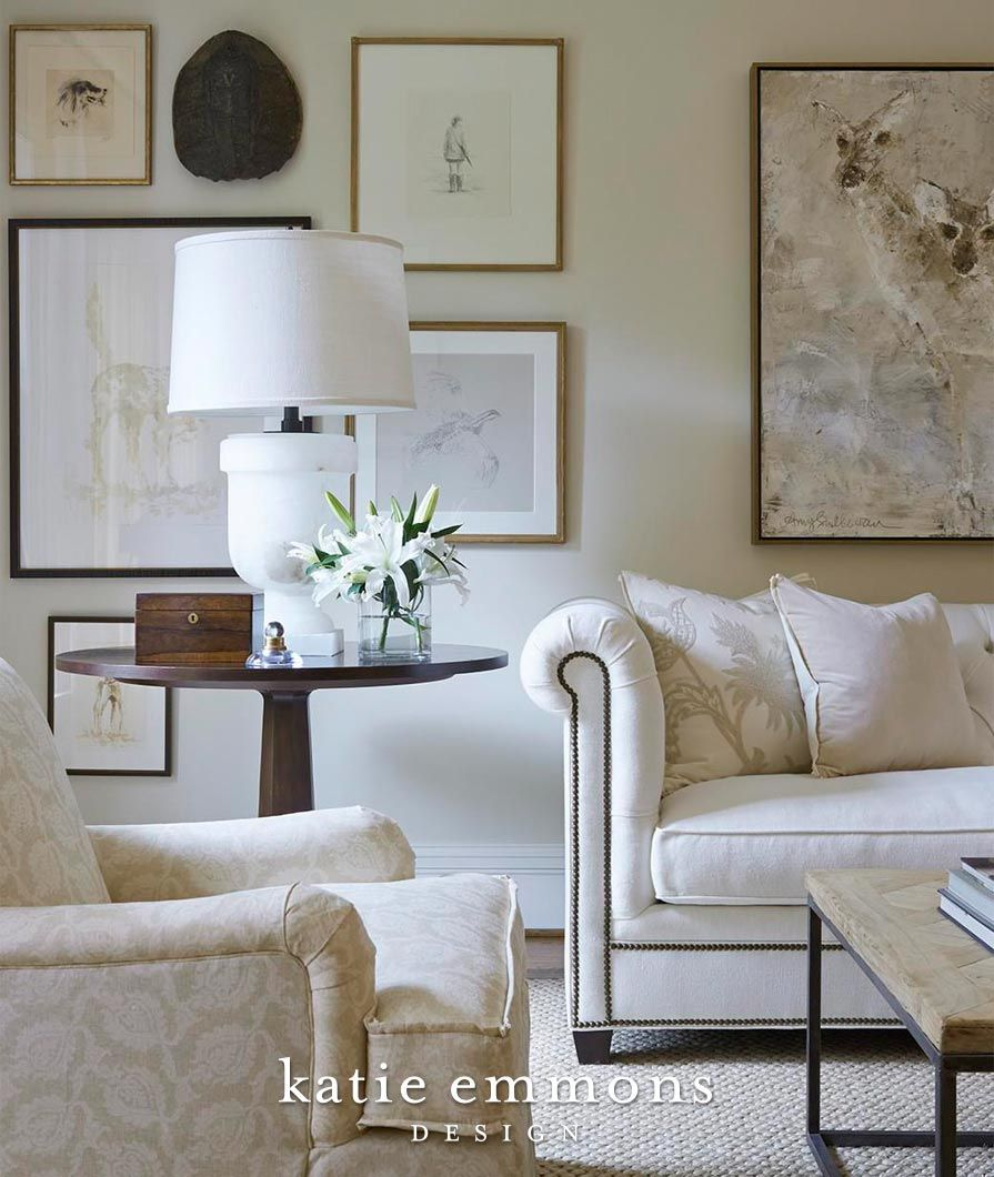 White Living Room Design With Gallery Wall  Katie Emmons Design Custom Living Room Design Photos Gallery Design Inspiration