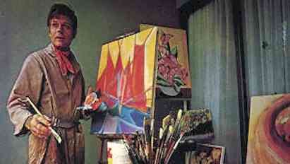 Jack Lord with one of his paintings Lord