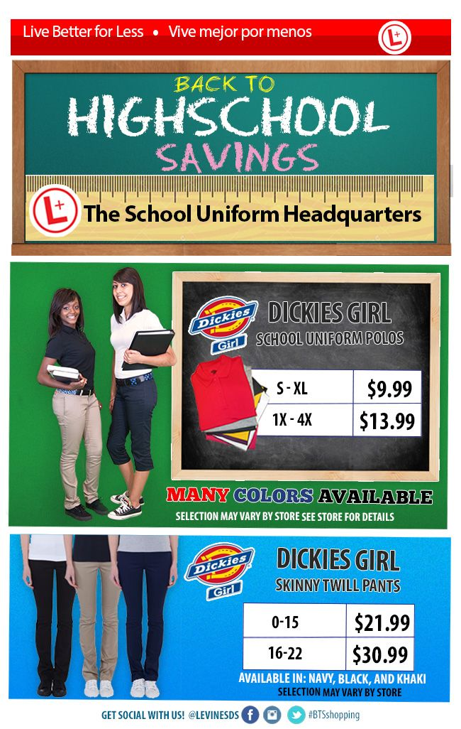 In stock! Dickies Girl school uniforms at the school uniform headquarters!