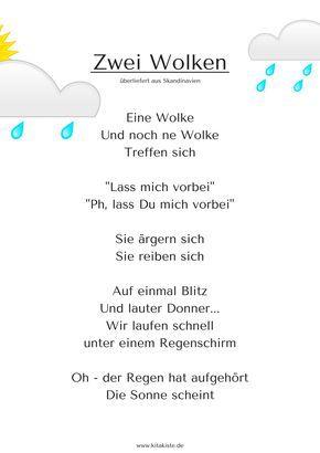 Regentropfen Klopfen Fingerspiele Kindergedichte Kinder Gedichte