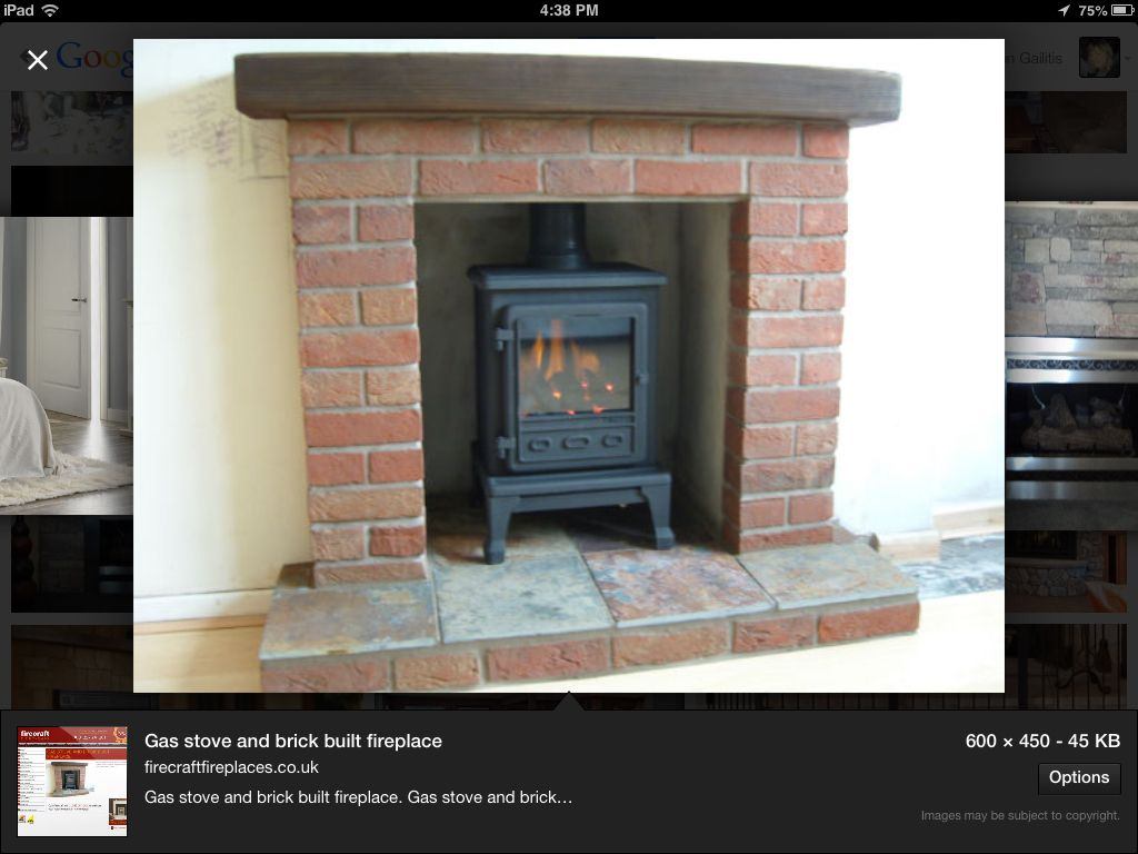 Gas Stove Set In Existing Fireplace, Hearth. Would Place It More Forward  Though.
