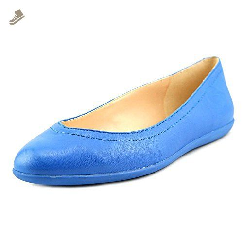 Nine West Women's Zarong Leather Ballet Flat, Blue, 6 M US - Nine west
