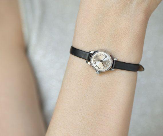 9a0682352fe Micro watch silver shiny women watch small black by SovietEra