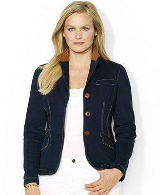 e44f0fba9be Lauren Ralph Lauren Plus Size Leather-Collar Denim Jacket