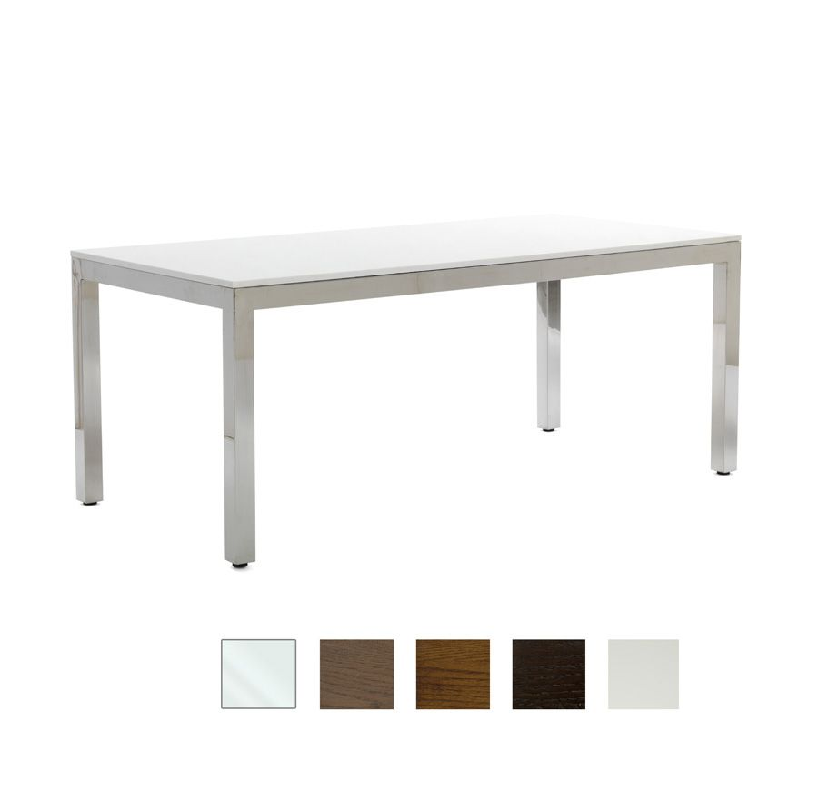 Who Doesn T Love This White Quartz And Stainless Steel Parsons Table From Mitchell Gold Bob Williams Bonus You Can Change The Top Option