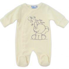 16132c4b5c259 Pyjama bébé mixte en velours crème Mon petit Fanfan