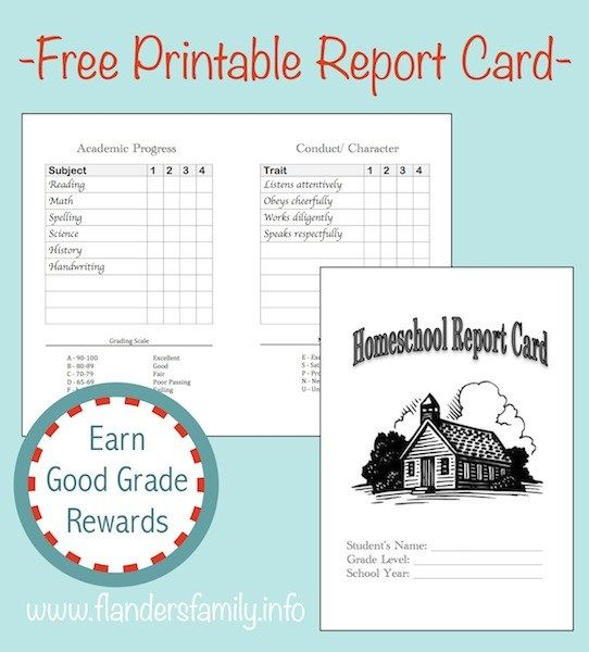 Free Printable Homeschool Report Cards  Anything Cool