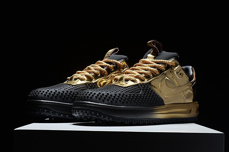 NIKE LUNAR FORCE 1 LOW DUCK BOOT Black Gold Shoes | Black