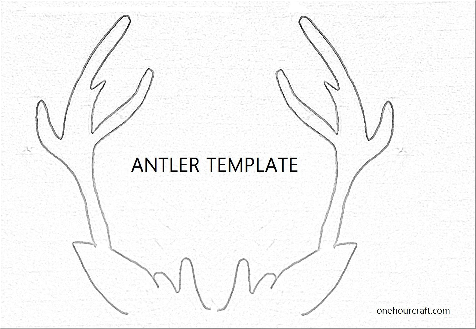 antler template for christmas card at onehourcraft com one hour