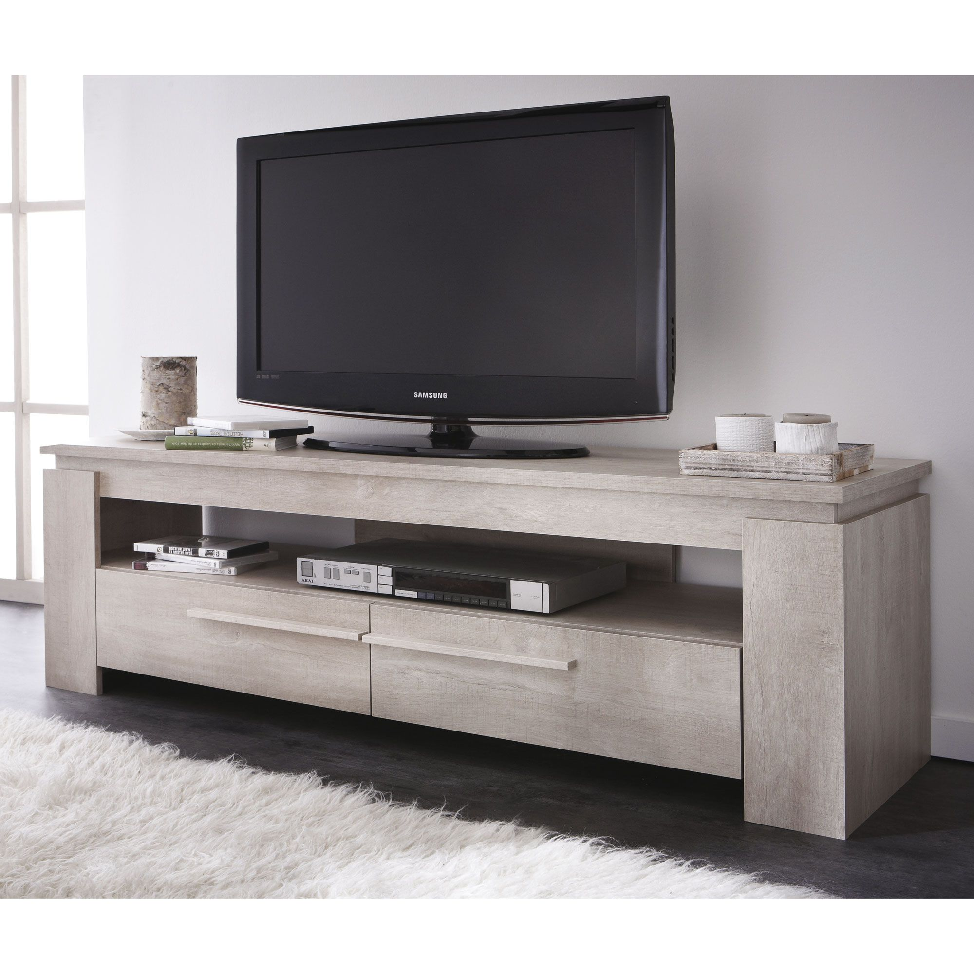 meuble tv bas en bois 2 tiroirs l140 cm segur salons tv. Black Bedroom Furniture Sets. Home Design Ideas
