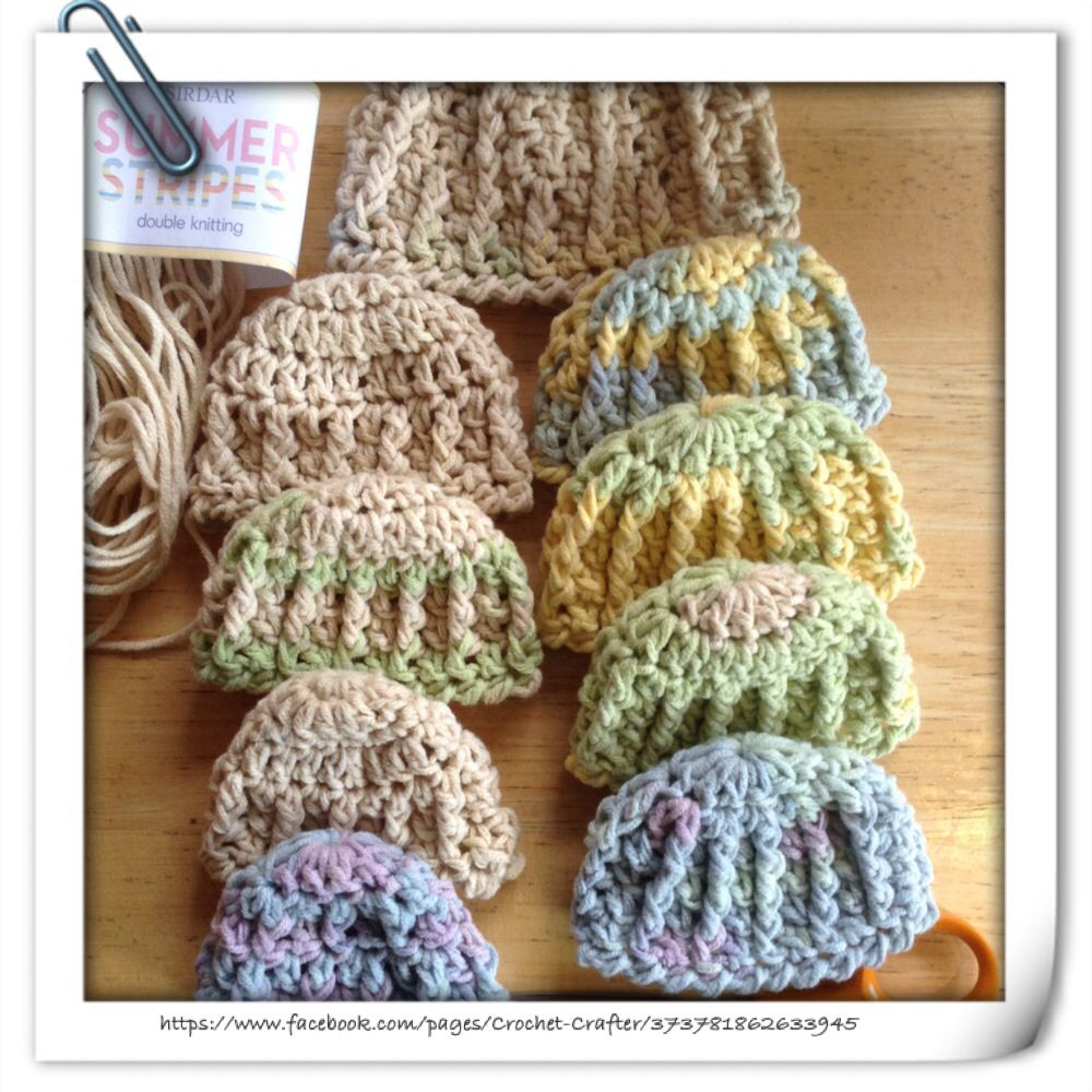 Crochet Premature Babies Hats | Crochet Crafters Makes | Pinterest