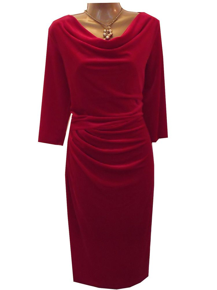 Details about New M&S Per Una Velvet Secret Support Red Dress Size ...