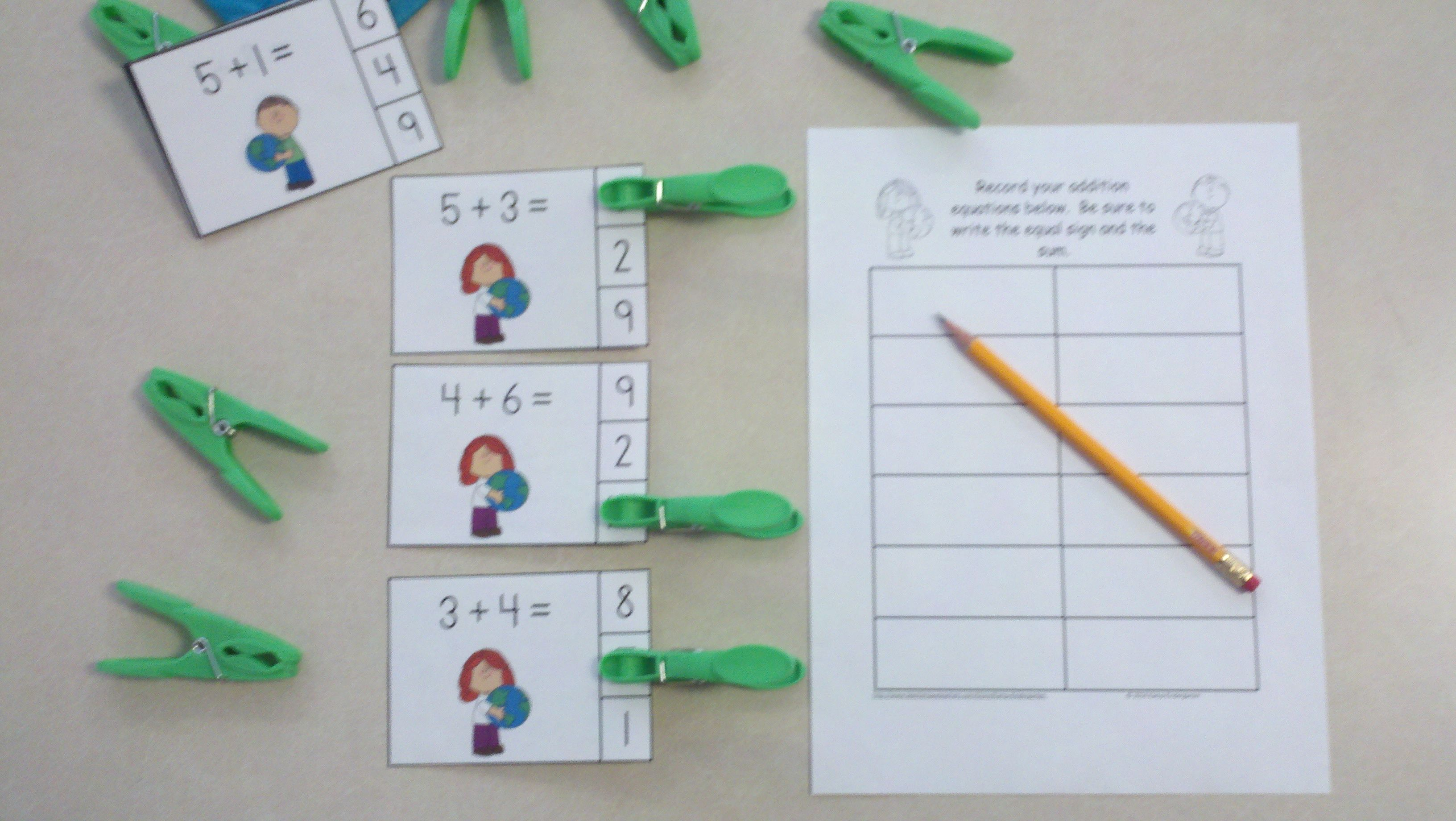 Earth Day Addition Math Centers Sums To 10