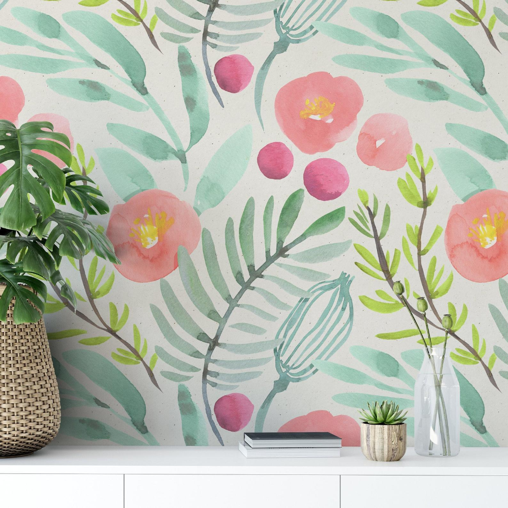 Watercolor Floral Wallpaper Removable Wallpaper Peel And Stick