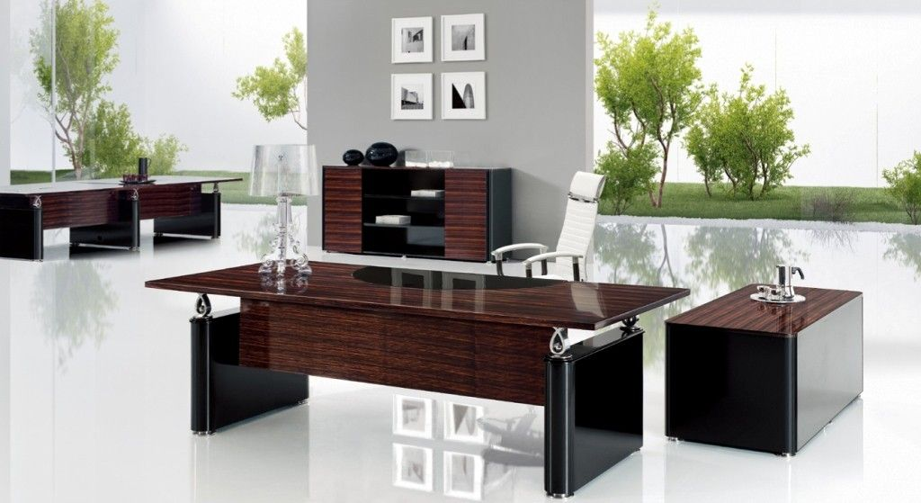 Nino D Modern Desk In Ebony Black Paint Finish Office Table And Chairs Office Furniture Modern Modern Executive Desk