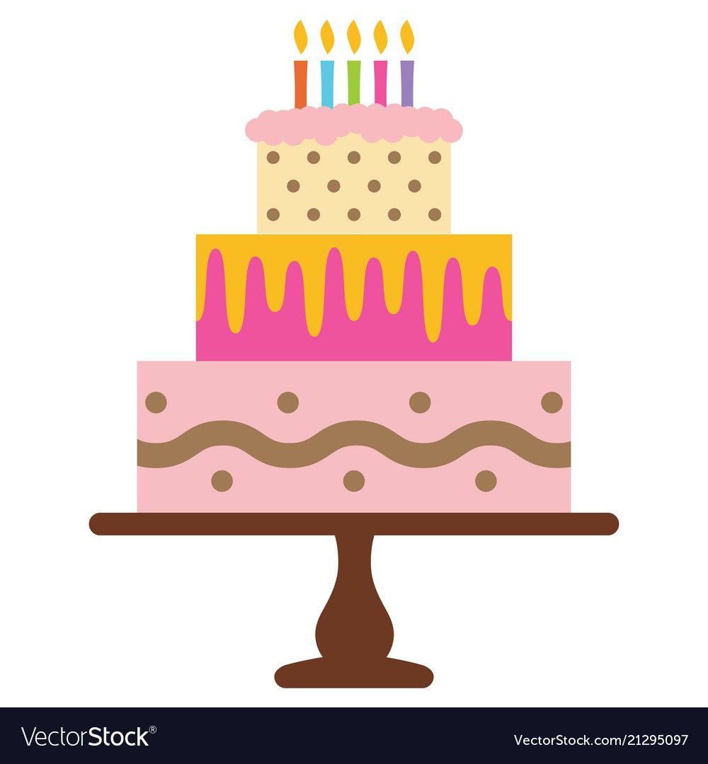 25 Beautiful Photo Of Birthday Cake Candle Sweet With Five Burning Candles Vector Image