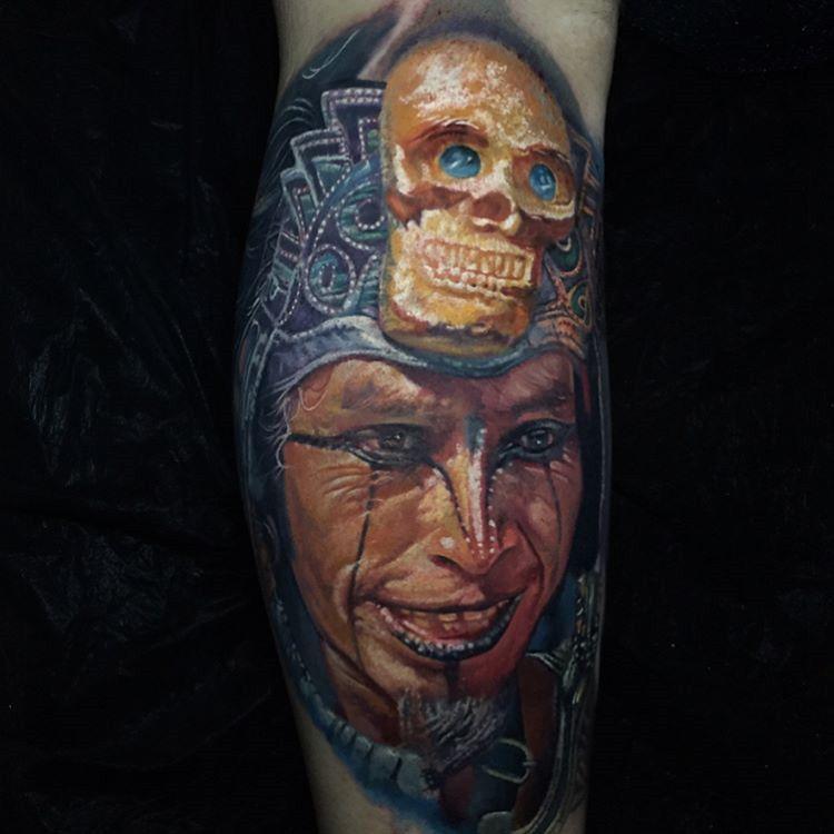 Aztec Warrior With Golden Skull Headpiece Aztec Warrior Joker Tattoo Color Tattoo