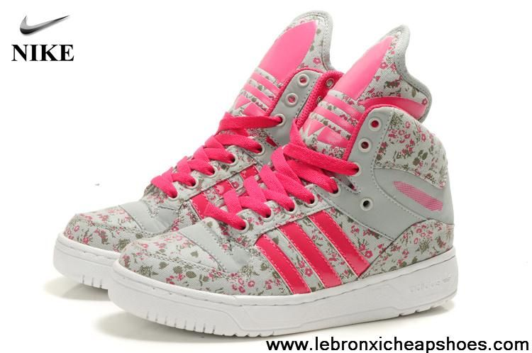Buy Discount Girl Adidas X Jeremy Scott Big Tongue Shoes Flower Pink Newest Now