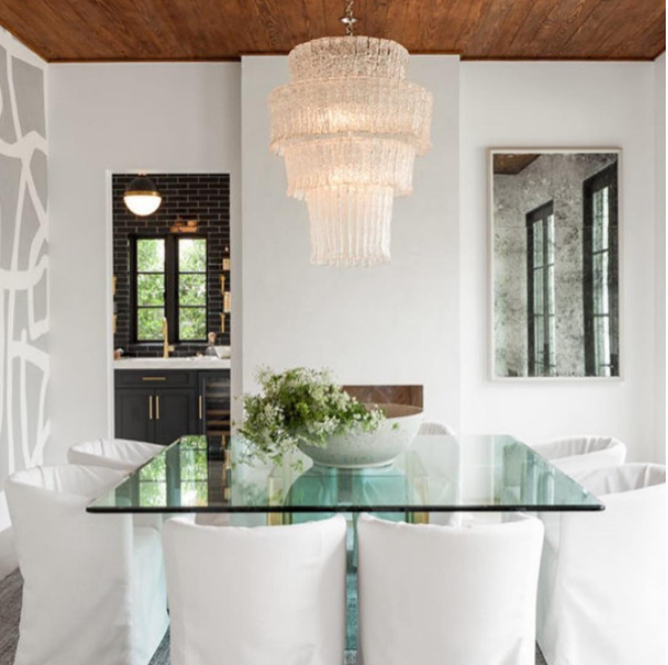 """16 Absolutely Gorgeous Mediterranean Dining Room Designs: Porter Teleo's """"Tangled"""" In Argent, Peeking Out In This"""