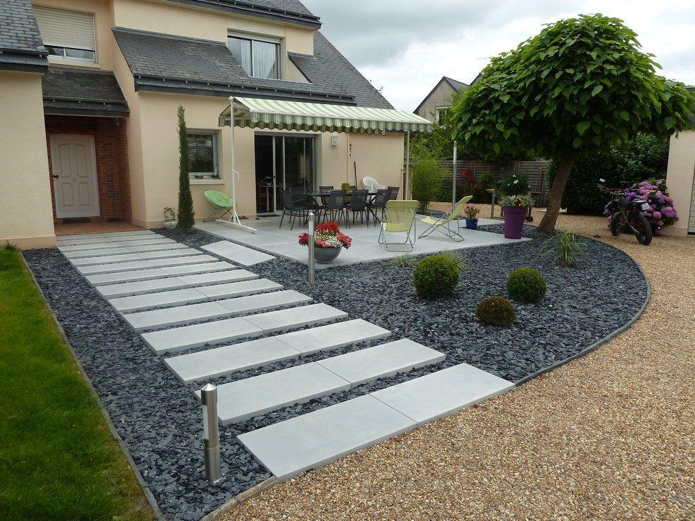 dalles béton et paillettes d'ardoise | garden | pinterest | dalles