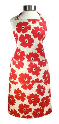 6 Modern Chef Aprons ~ red poppy
