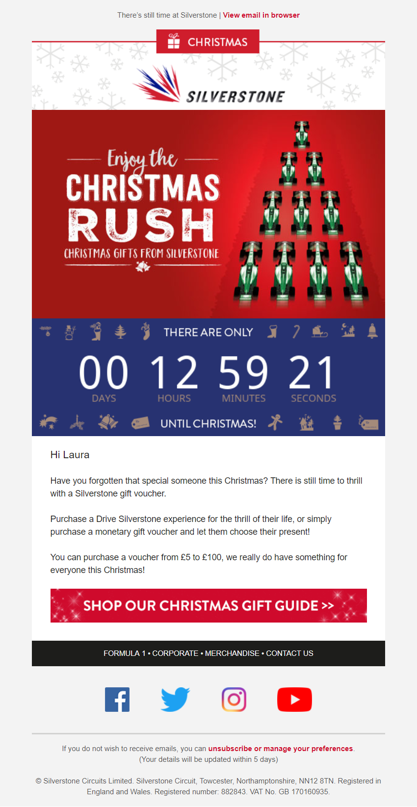 Christmas Countdown Timer email from Silverstone