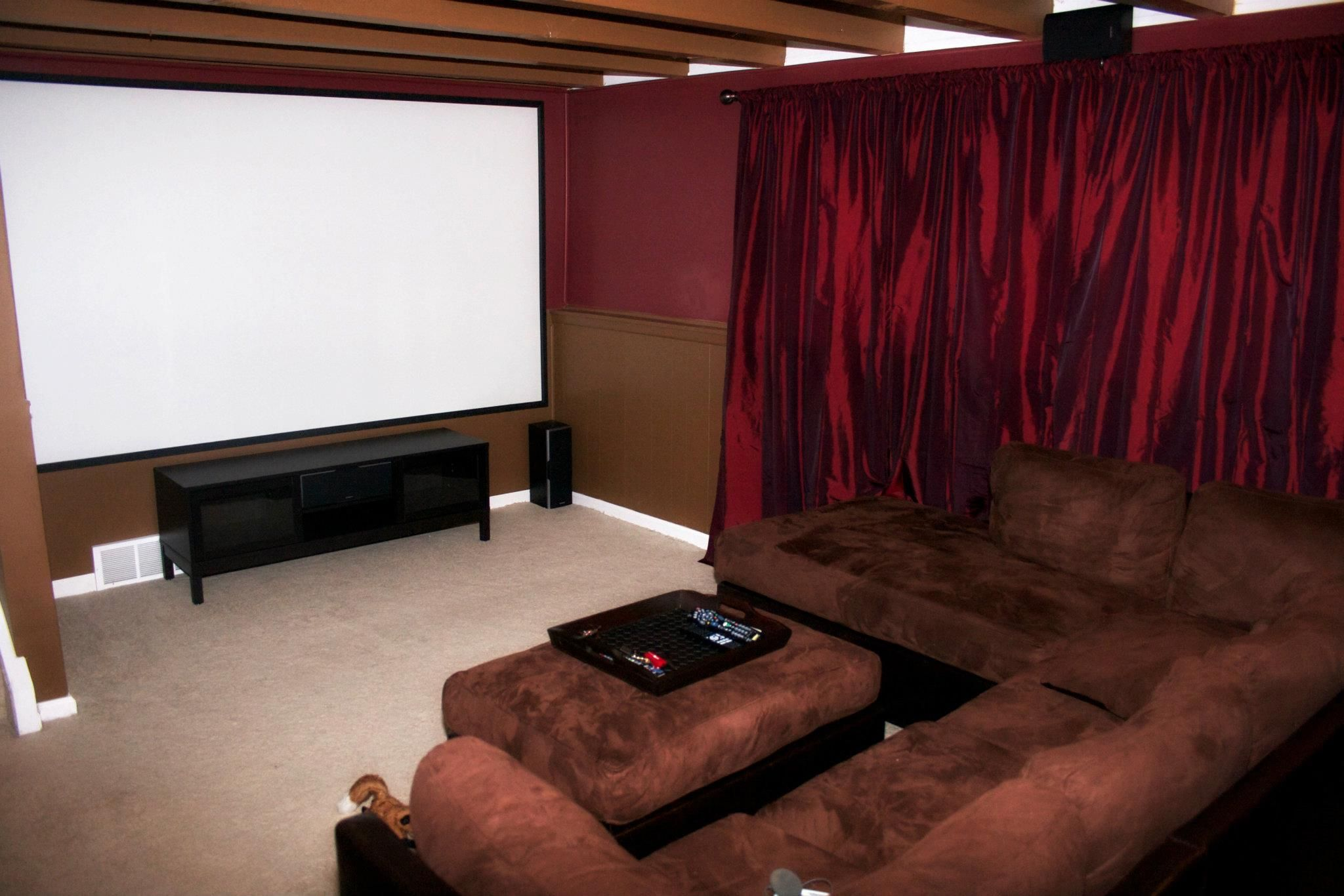 Our home theater with a 123 screen projector 7 1 for 10x12 bedroom ideas