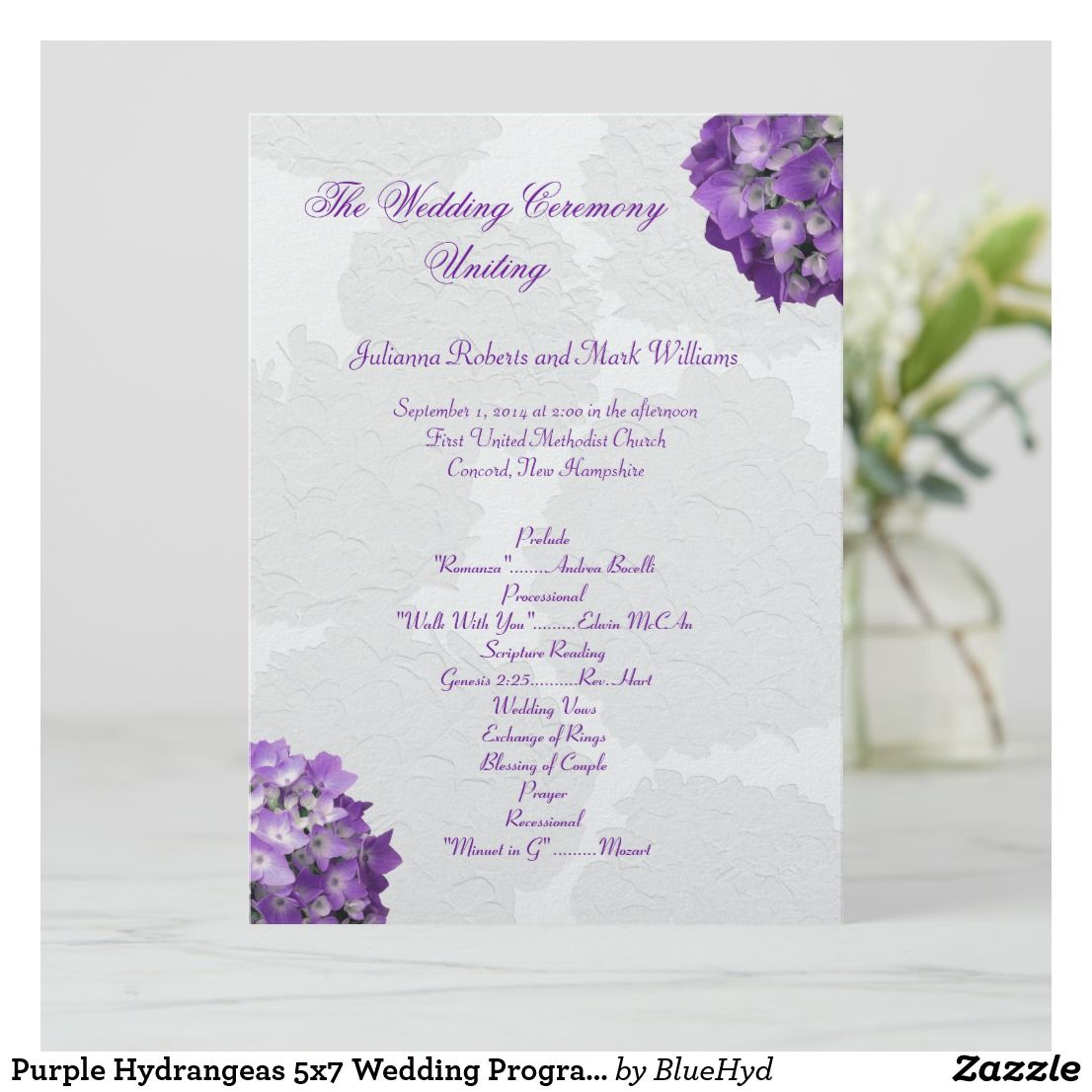 Wedding Program Template Purple Lavender Lilac Romantic