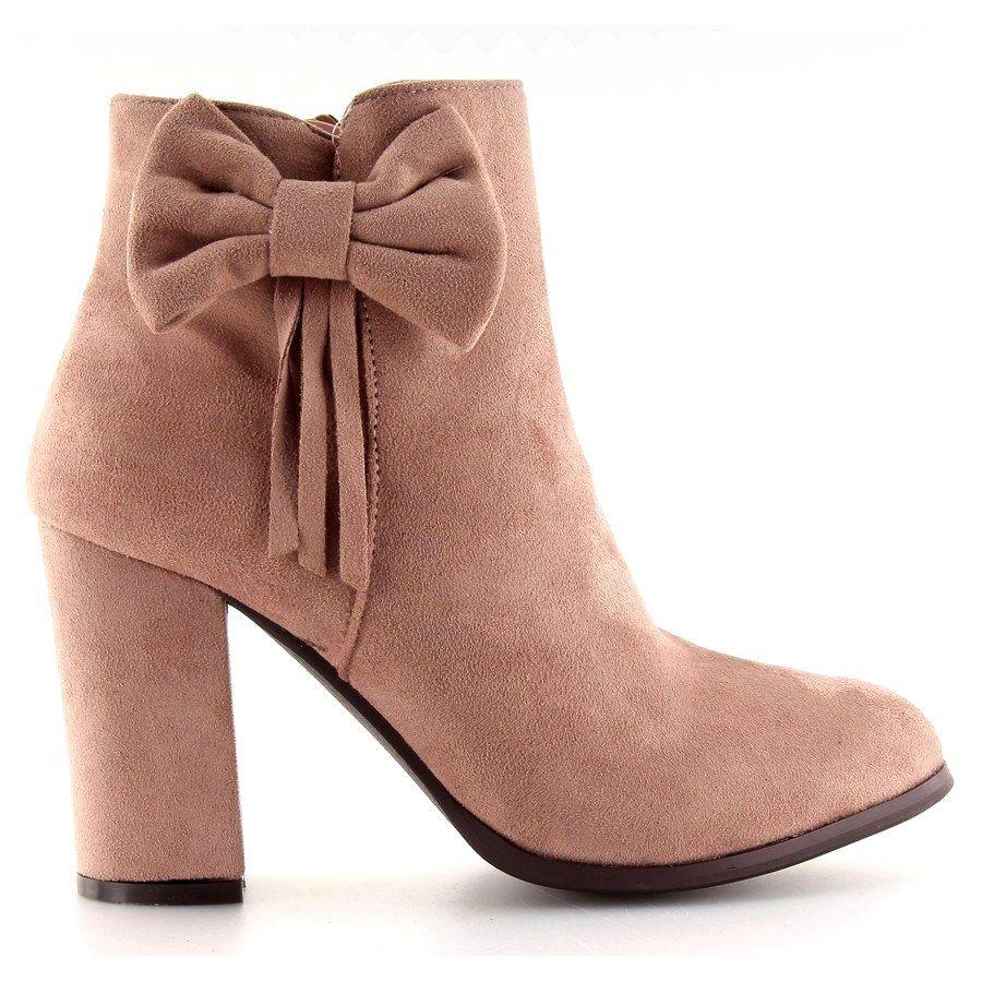 Botki Damskie Obuwiedamskie Inne Botki Na Obcasie Z Kokardka Rozowe Nc93 Obuwie Damskie Boots Shoes Footwear
