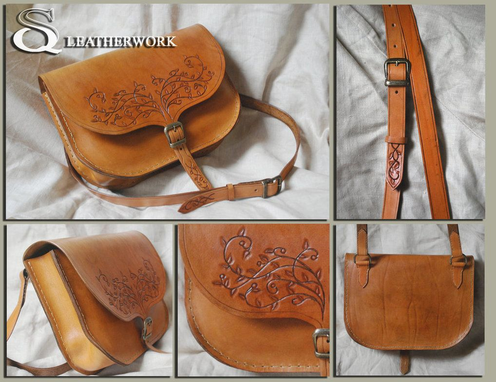 Leather gag, Dimensions: 17cm on 25cm Hand sewn bag and hand-decorated.