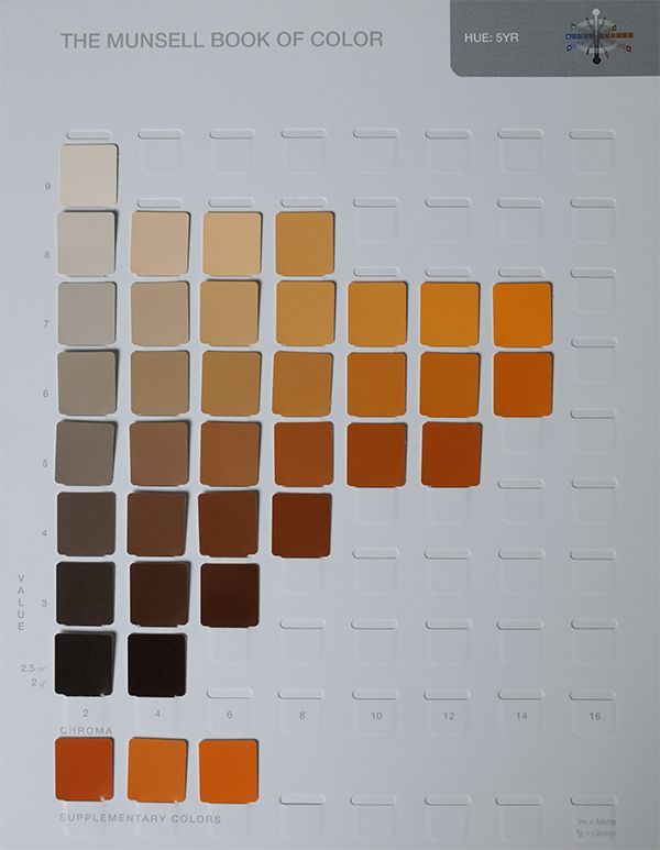 A Munsell color chart with rows of blue chips in various colors - sample general color chart