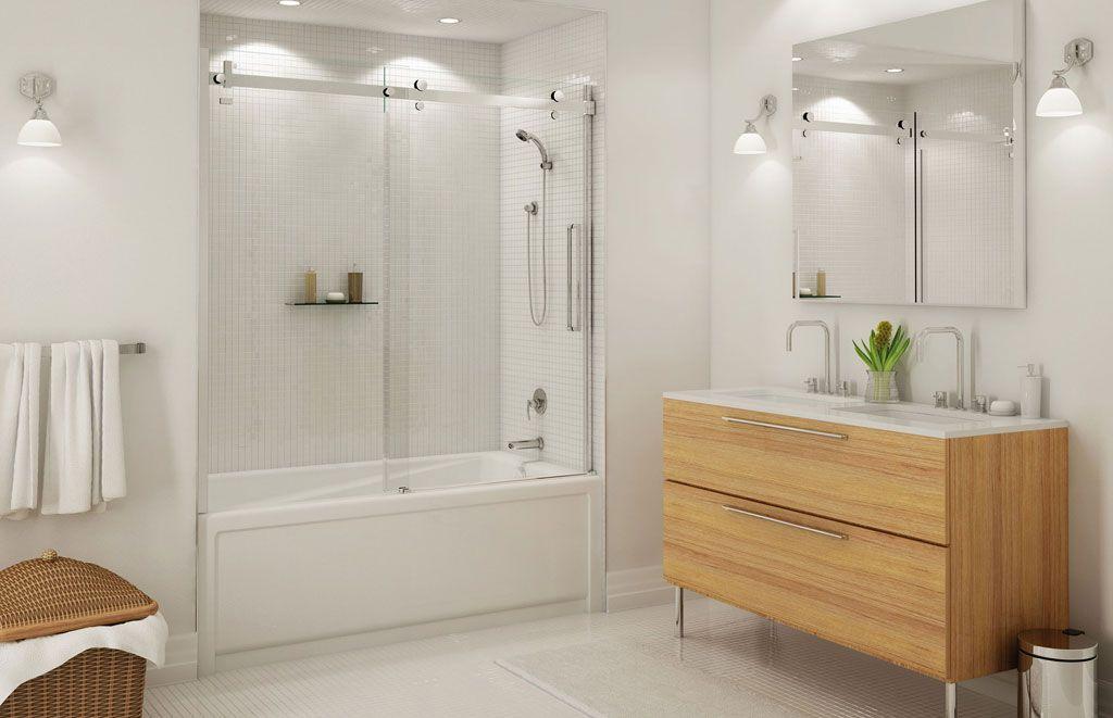 Decorating Bathroom With Bathtub Sliding Door Also Bathroom Mirrors