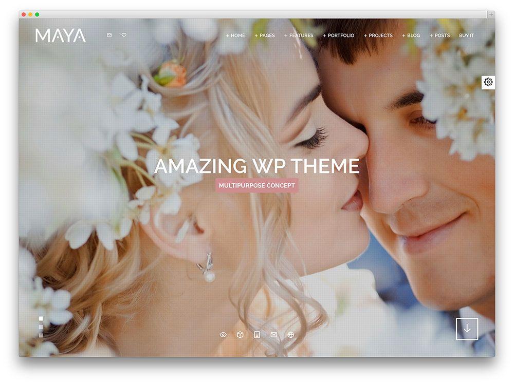 Maya Fullscreen Wedding Theme Website Design Pinterest