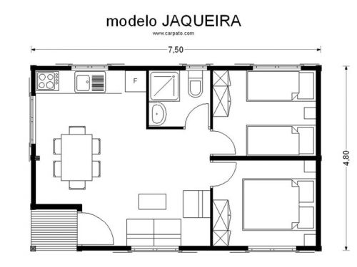 Casas de madera prefabricada modular plano modelo jaqueira for Habitaciones prefabricadas precios