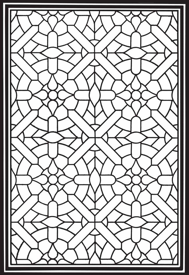 Geometric genius stained glass coloring book