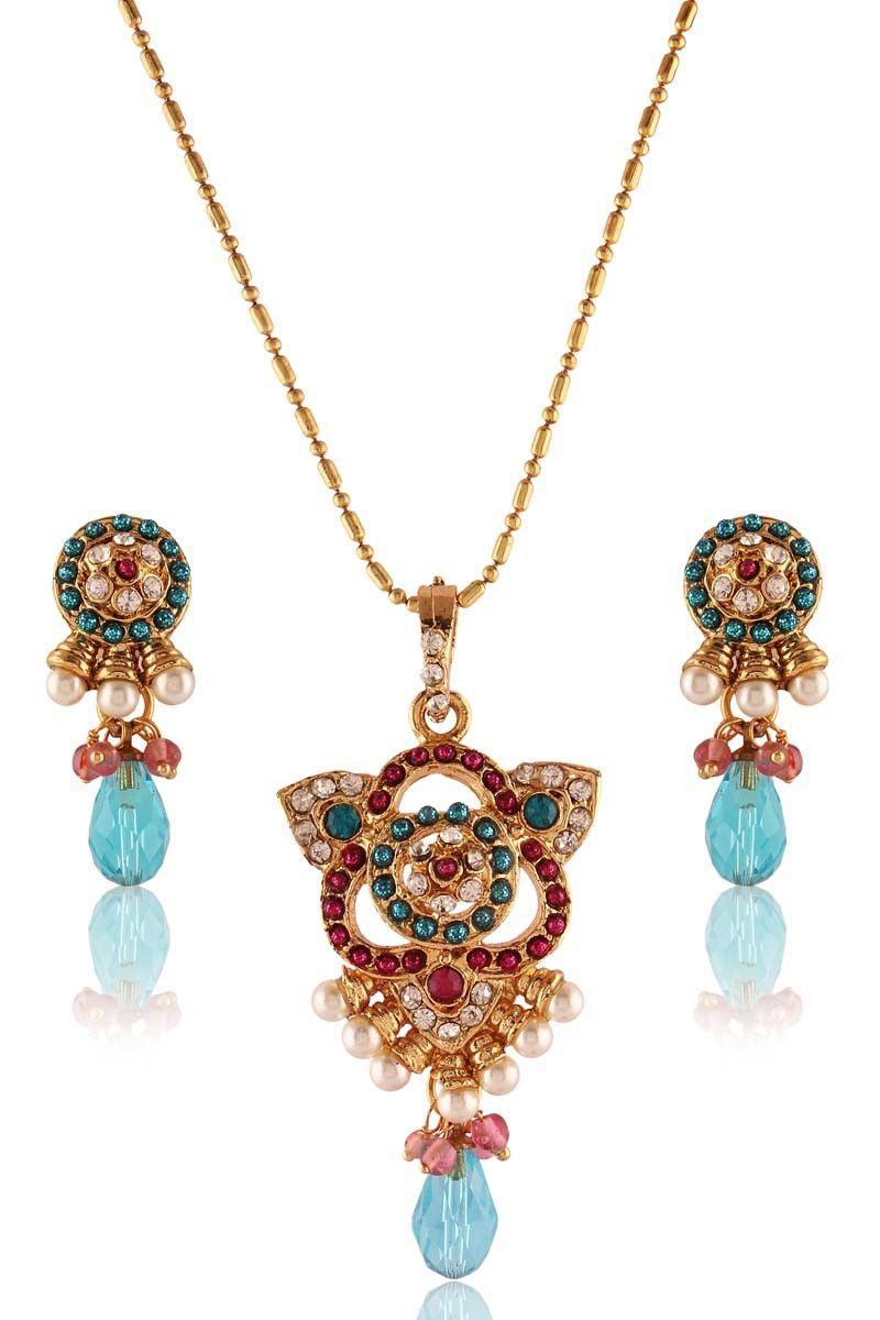 Sky blue gold plated pearl pendant set pendant set blue gold and