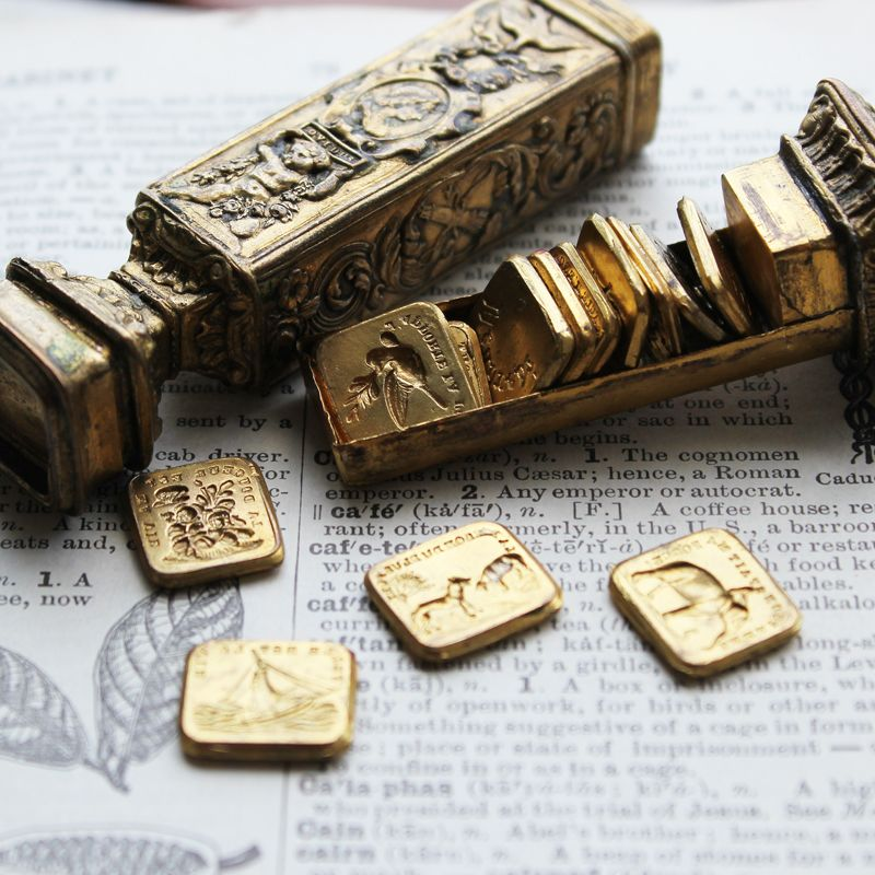 French Wax Seal Etui .. The stamp has interchangeable stamps inside it! YES.