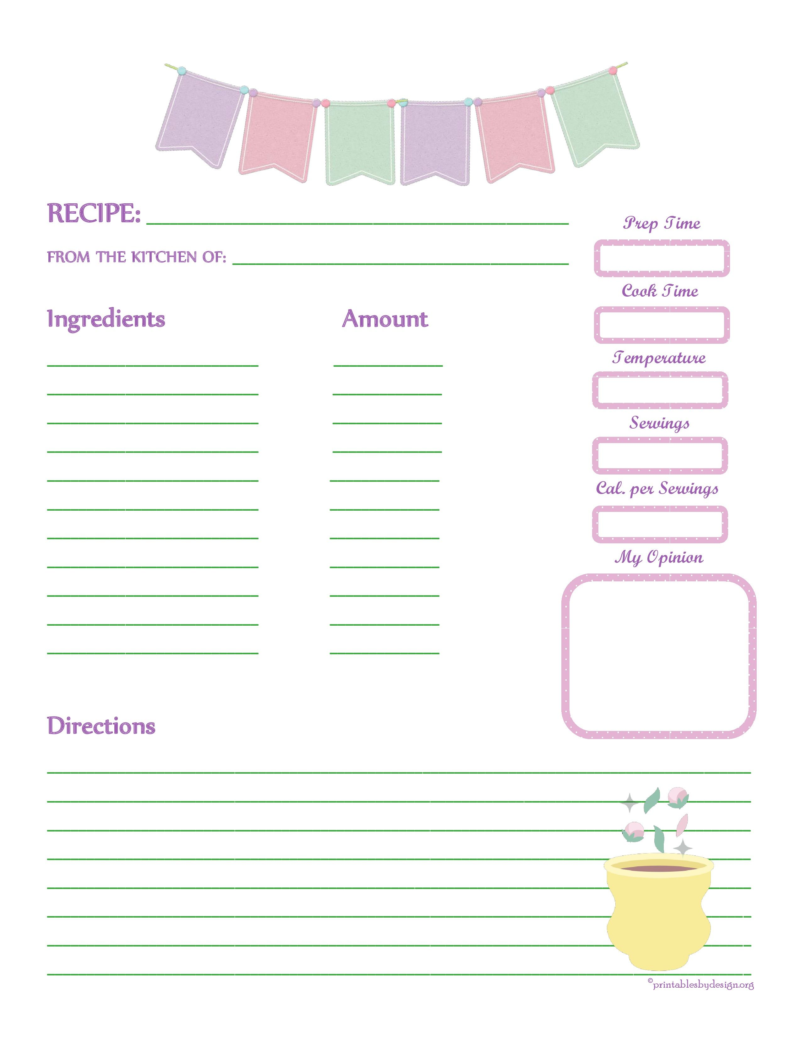 Fabric Bunting Recipe Card Full Page Recipe Cards Template Cookbook Template Recipe Book Templates