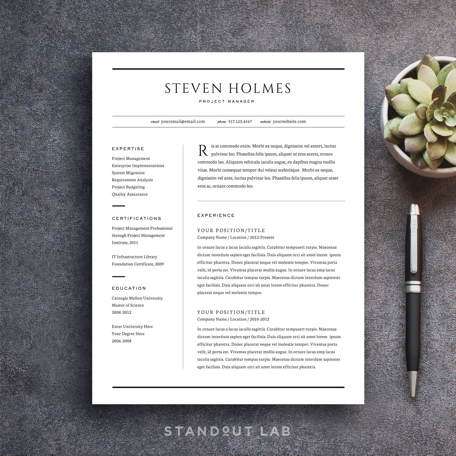 professionally designed and easy to customize two page resume and cover letter template - Resume Templates That Stand Out