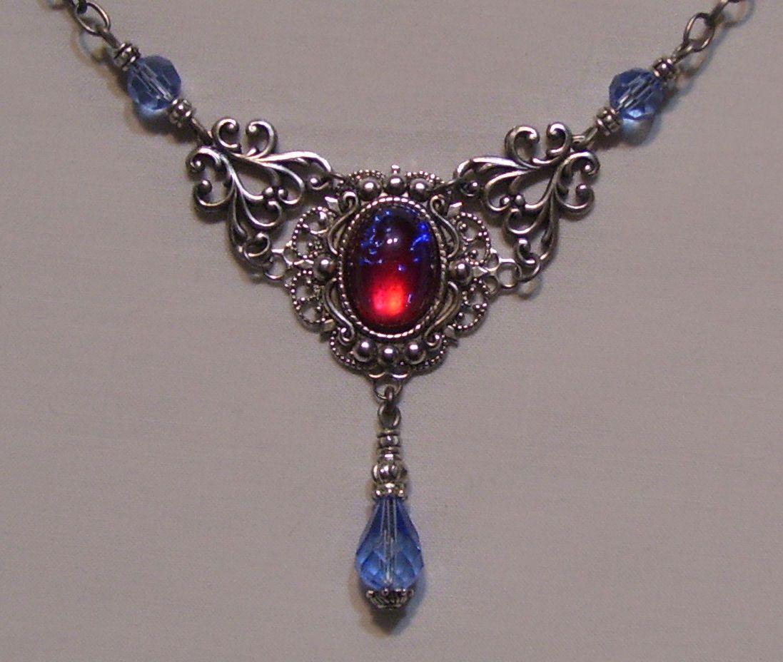 Antiqued Silver Dragon's Breath Glass Fire Opal Filigree Necklace Victorian | eBay