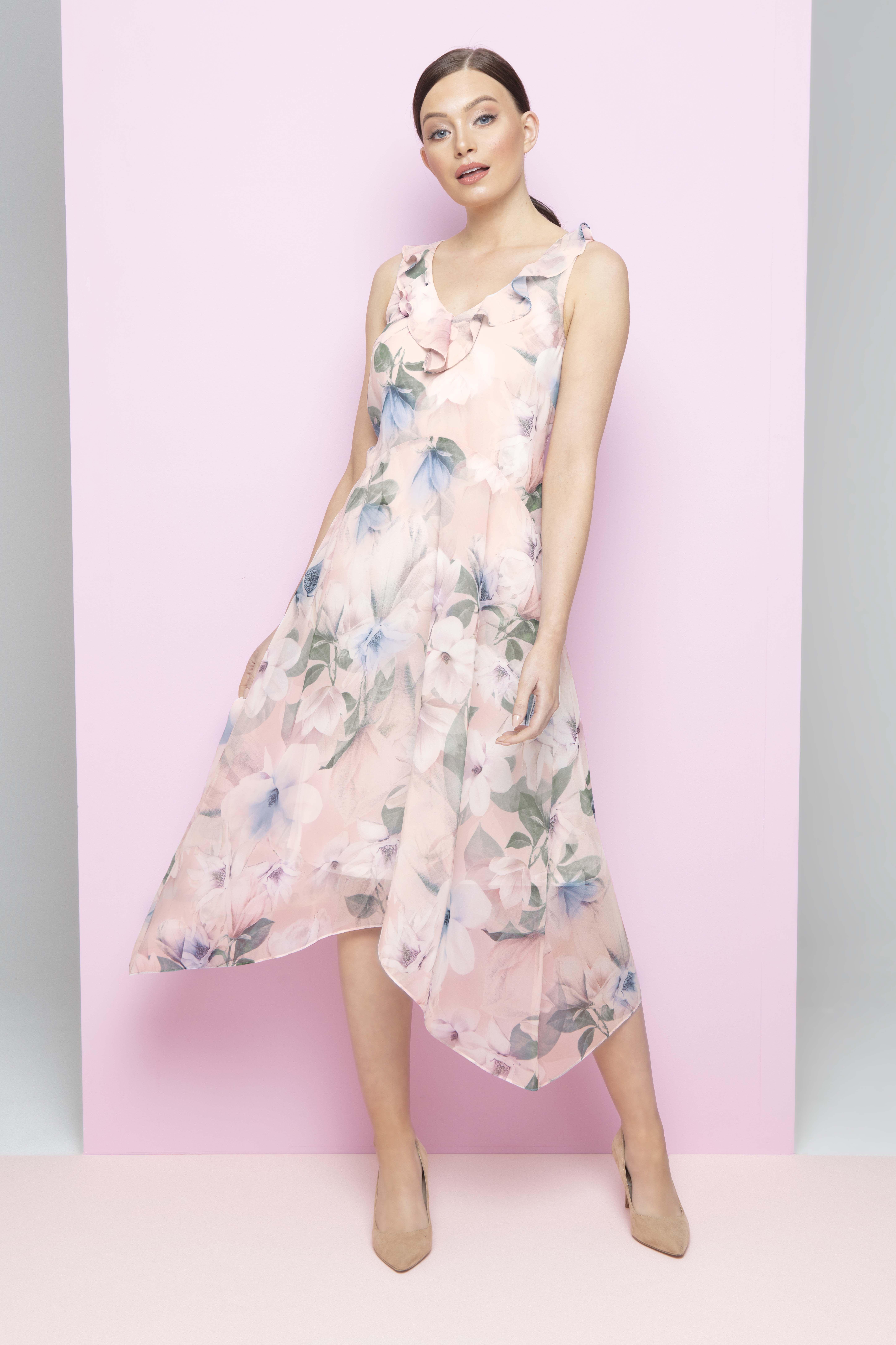 ec8a5ba50348e Floral Chiffon Frill Dress in Light Pink - Roman Originals UK | Roman SS19  | Floral chiffon, Frill dress, Floral