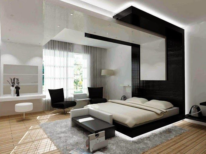 Bedroom decorating modern with white wall bedroom and pop ...