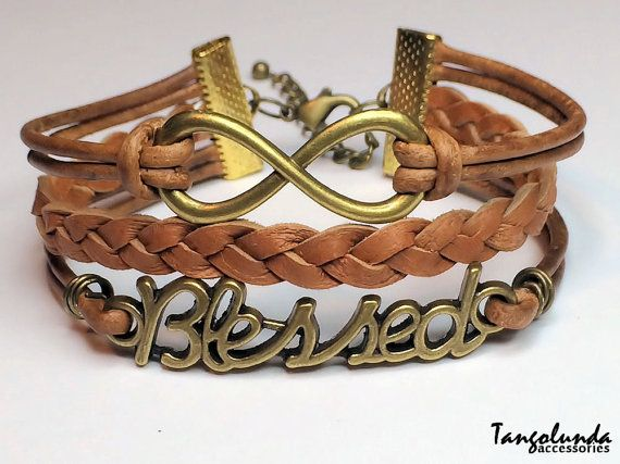 Brown Leather and Brass Blessed Bracelet by Tangolunda Gifts  $9.50