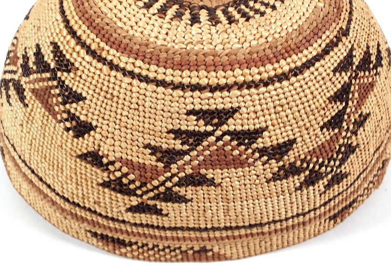 b75bf47d521 Antique Old HUPA Hoopa Native American Indian Basket Basketry Hat  California