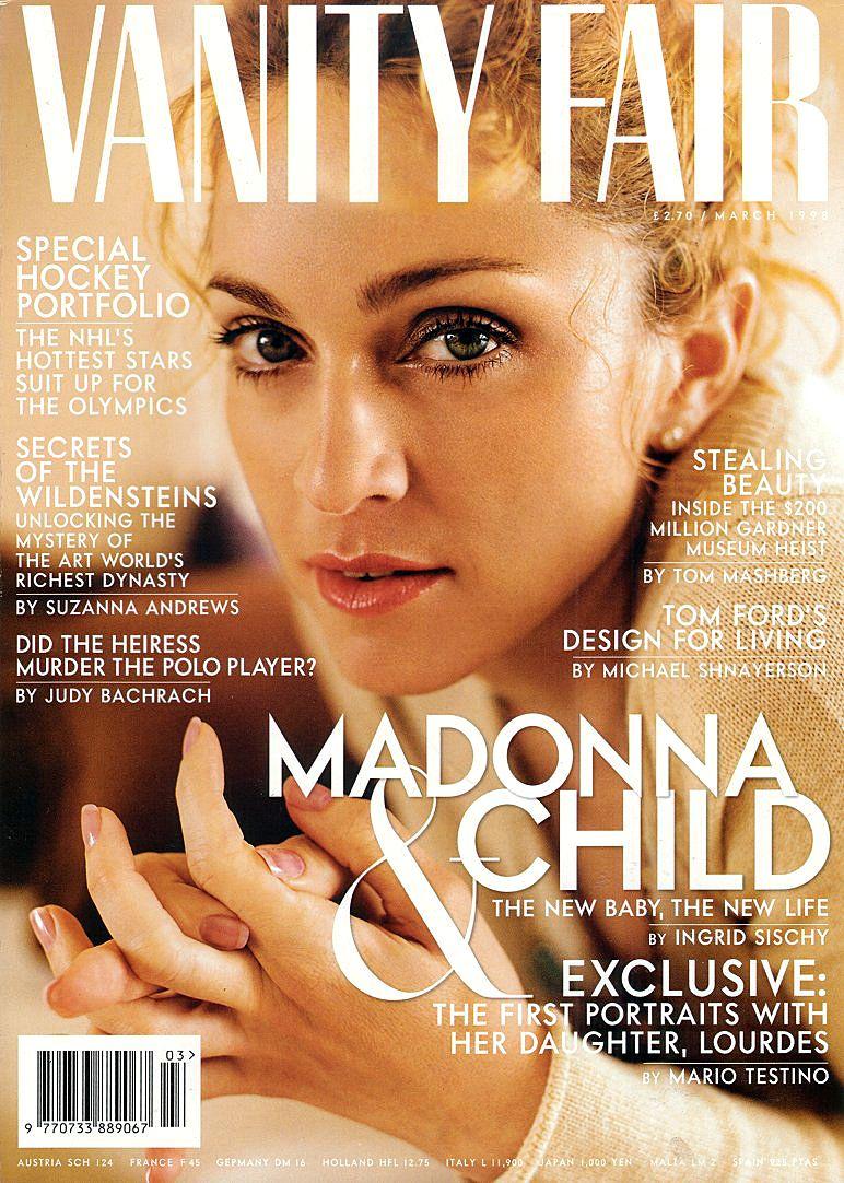 Madonna Vanity Fair March 1998 Photo By Mario Testino Madonna And Child Madonna Vanity Fair