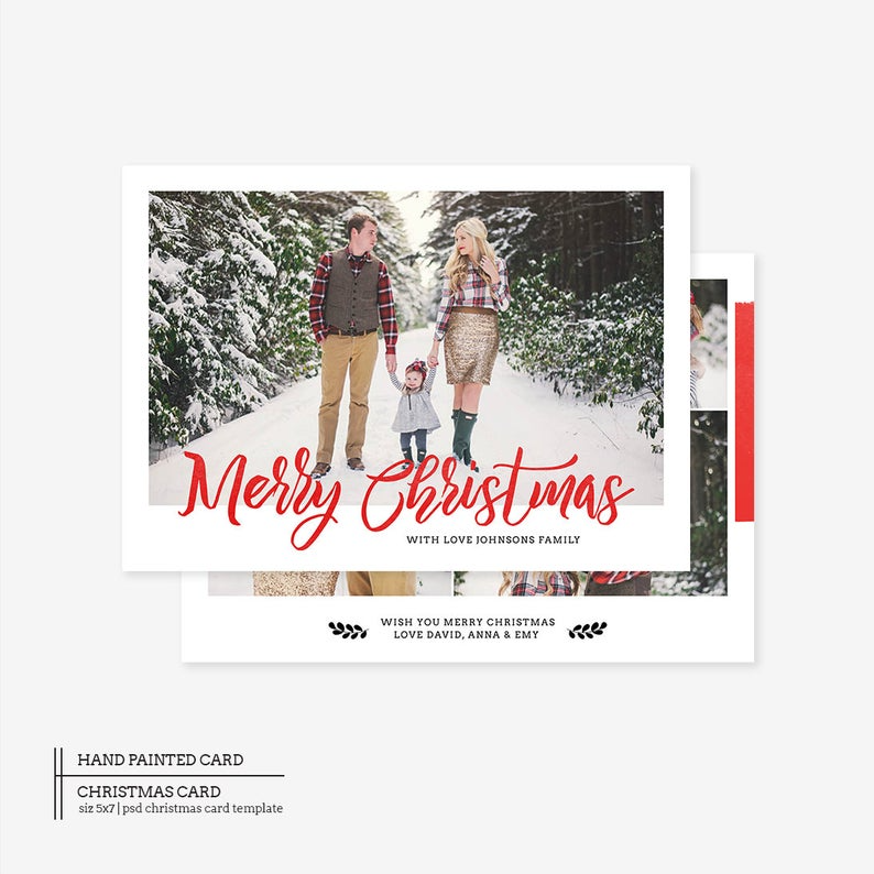 Christmas Card Photoshop Template Holiday Card Template Etsy Christmas Card Photoshop Family Christmas Cards Christmas Photo Card Template