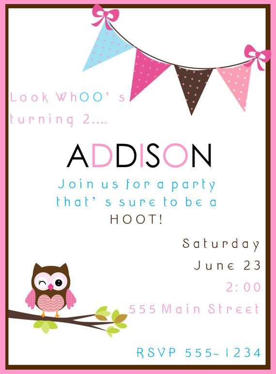 Owl Birthday Invitation By AddisonAvenueDesigns On Etsy 1000